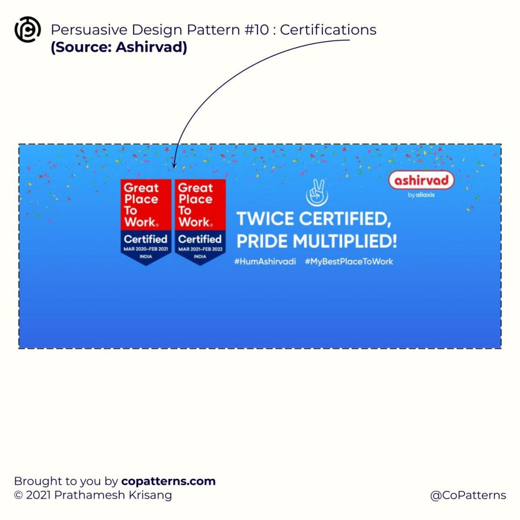 Persuasive Design Pattern #10 :  Certifications  🧠 Design Patterns For Ads & Landing Pages  That Influence Human Perception