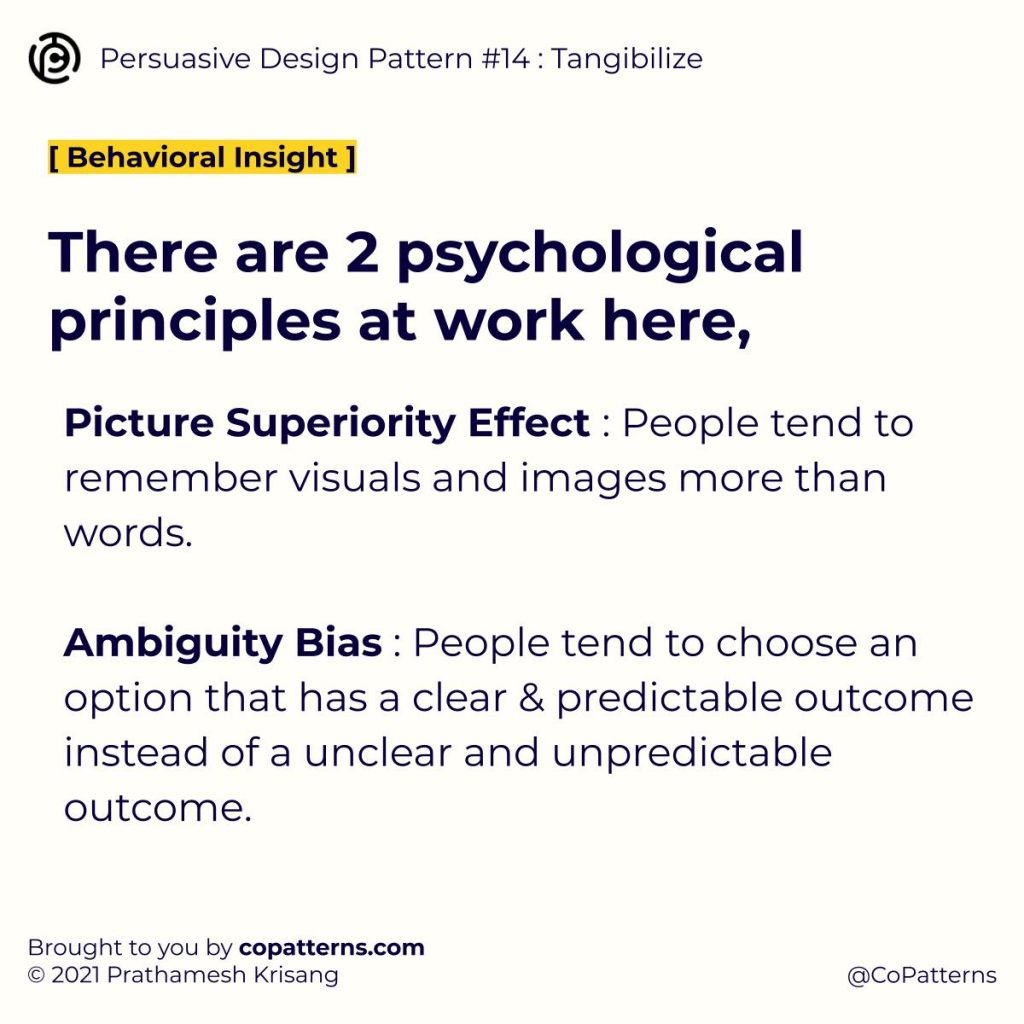 There are 2 psychological principles at work here, Picture Superiority Effect : People tend to remember visuals and images more than words.  Ambiguity Bias : People tend to choose an option that has a clear & predictable outcome instead of a unclear and unpredictable outcome.